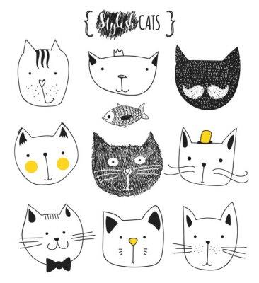 Nálepka Sada roztomilé doodle koček. Skica kočka. Cat Sketch. Kočka ruční práce. Potištěná trička pro kočku. Tisknout na oblečení. Děti Doodle zvířata. Stylové čenich kočky. Izolovaný kočka. pet