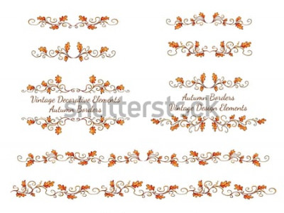 Nálepka Sada ručně kreslenou hranic s podzimní listí