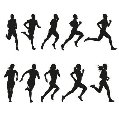 Nálepka Sada siluety běžících žen a mužů