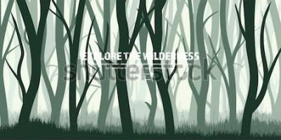 Nálepka Sada stromů. Divoký borový les, přírodní pozadí. Wood.Vector illustration.Banner. Tmavě zelený strom. Krajina. Grass, louka.