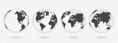 Nálepka Sada transparentní koule země. Realistické mapa světa ve tvaru koule s transparentní texturou a stín
