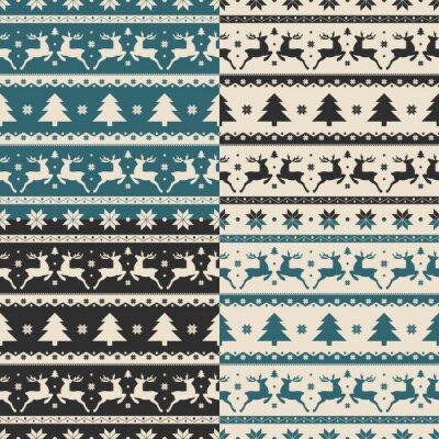 Nálepka Sada vánočních a novoročních bezešvých vzorů