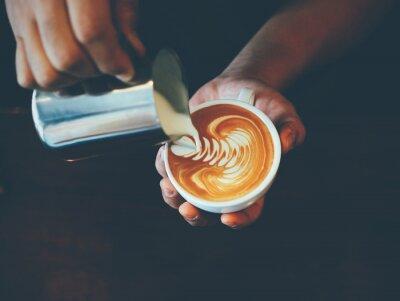 Nálepka Šálek kávy latte umění v kavárně