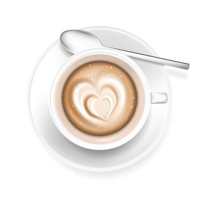 Nálepka Šálek kávy s tvaru srdce v pěně