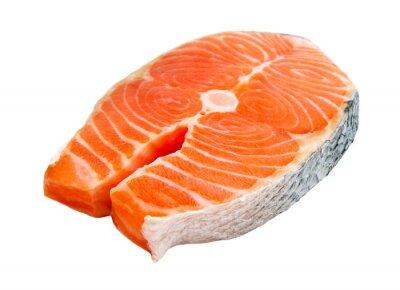 Nálepka salmon steak isolated on white background