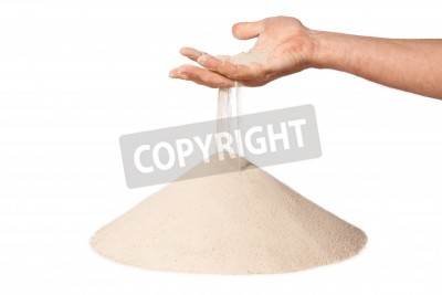 sand running through hand as a symbol for time running out.Isolated on a white background