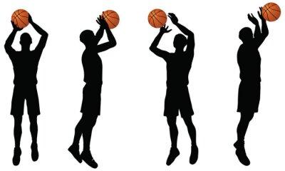 Nálepka sbírka v rozstřelu pozici basketbalisté siluetu