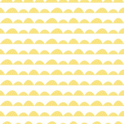Nálepka Scandinavian bezešvé žluté vzor v ruce tažené stylu. Stylizované kopec řádky. Mávat jednoduchý vzor pro tkaniny, textilie a dětského prádla.