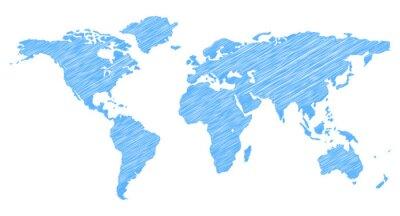 Nálepka Scribble Mapa světa