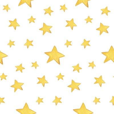 Nálepka Seamless akvarel vzor: Merry Christmas, žluté hvězdy