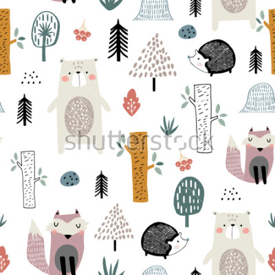 Nálepka Seamless childish pattern with cute bear, fox, hedgehogs in the wood. Creative kids scandinavian style texture for fabric, wrapping, textile, wallpaper, apparel. Vector illustration