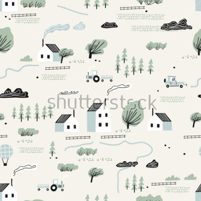 Nálepka seamless colorful pattern with house,trees and mountains. Nordic nature landscape concept. Perfect for kids fabric, textile, nursery wallpaper.
