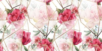 Nálepka Seamless floral pattern with flowers on light background, watercolor. Template design for textiles, interior, clothes, wallpaper. The geometry of the crystal. Golden texture