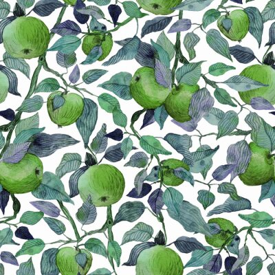 Nálepka seamless pattern apple tree branch with green apples watercolor stylized illustration