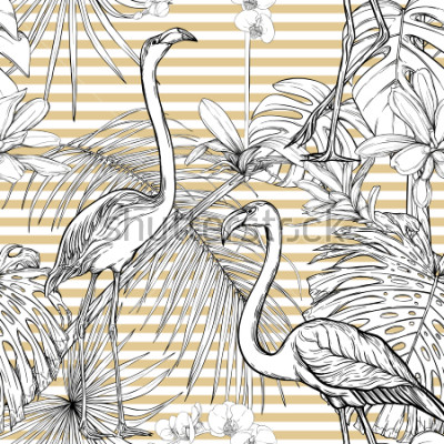 Nálepka Seamless pattern, background. with tropical plants and flowers with white orchid and tropical birds. Graphic drawing, engraving style. vector illustration. Black and white on beige and white stripes.