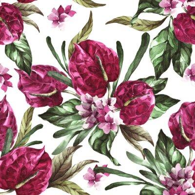 Nálepka seamless pattern burgundy flowers