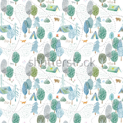 Nálepka Seamless pattern of a camping,road,fox,wolf,bear in the woods.Tent, trees, bonfire, plants and floral.Landscape tourism.Watercolor hand drawn illustration.White background.