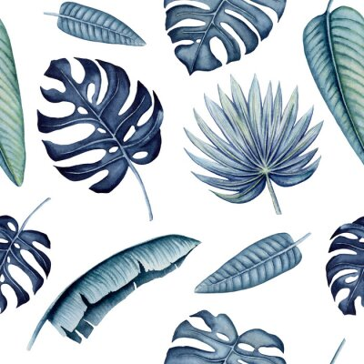 Nálepka Seamless Pattern of Watercolor Tropical Leaves