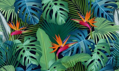 Nálepka Seamless pattern tropical leaves with bird of paradise on black background