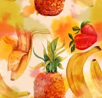 Nálepka Seamless pattern with bright bananas, strawberries and a pineapple