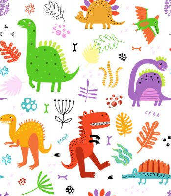 Nálepka Seamless pattern with dinosaurs and flowers