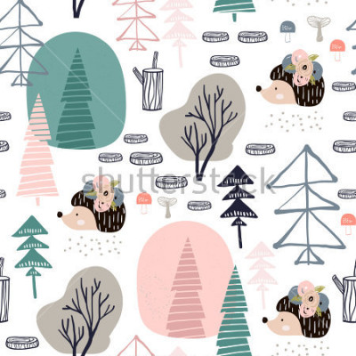 Nálepka Seamless pattern with hedgehog, forest elements. Creative woodland height detailed background. Perfect for kids apparel,fabric, textile, nursery decoration,wrapping paper.Vector Illustration