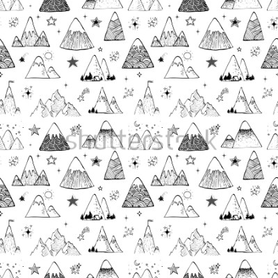 Nálepka Seamless pattern with mountains and stars. Can be used for wallpaper, pattern fills, textile, web page background, surface textures