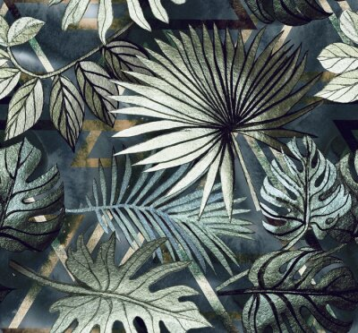 Nálepka Seamless pattern with tropical leaves and  geometric shapes. Tropical  background.