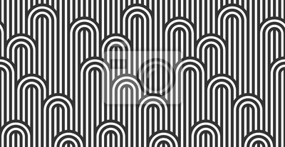 Nálepka Seamless pattern with twisted lines, vector linear tiling background, stripy weaving, optical maze, twisted stripes. Black and white design.