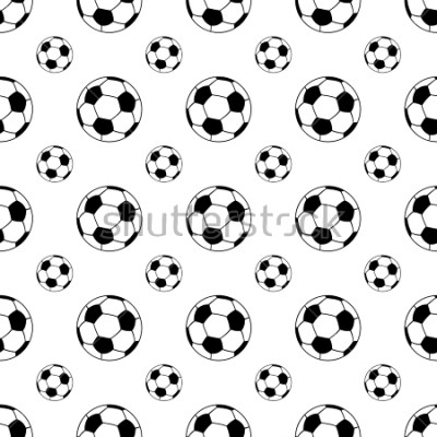 Nálepka Seamless patterns from a soccer ball. Black and white. Vector illustration.