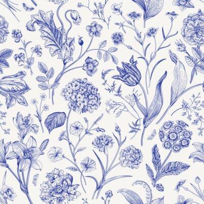 Nálepka Seamless vector floral pattern. Classic illustration. Toile de Jouy