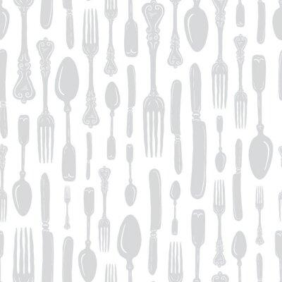 Nálepka Seamless Vintage Heirloom Silverware - Fork, Spoon, Knife - Vector Repeat Pattern in Subtle Gray on Light Background