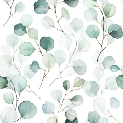Nálepka Seamless watercolor floral pattern - green leaves and branches composition on white background, perfect for wrappers, wallpapers, postcards, greeting cards, wedding invitations, romantic events.