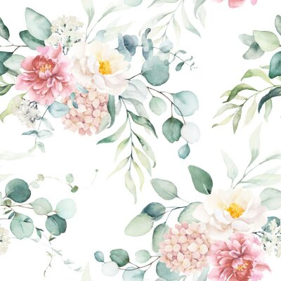 Nálepka Seamless watercolor floral pattern with pink & peach cream flowers, leaves composition on white background, perfect for wrappers, wallpapers, postcards, greeting cards, wedding invitations, events.
