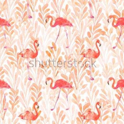 Nálepka Seamless watercolor pattern with a bird flamingo. Beautiful pink bird. Tropical flamingo.