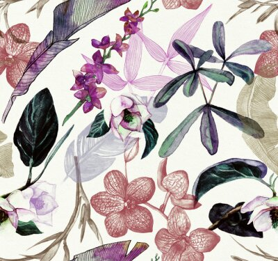 Nálepka Seamless watercolor pattern with tropical flowers, magnolia, orange flower, vanilla orchid, tropical leaves, banana leaves