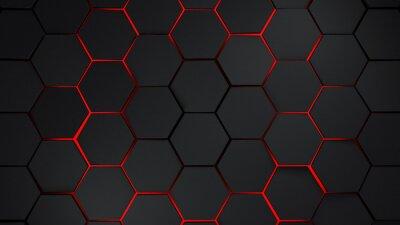 Nálepka Šedé a červené šestiúhelníky moderní pozadí obrázku