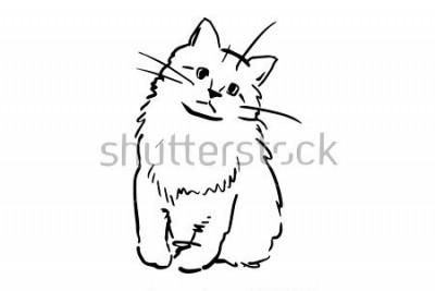 Nálepka Sedící kotě. Černá a bílá vektor skica. Jednoduché kreslení na bílém pozadí.