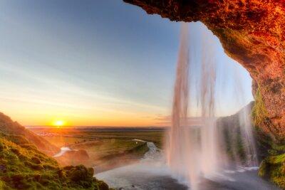 Nálepka Seljalandsfoss Vodopád při západu slunce, Island