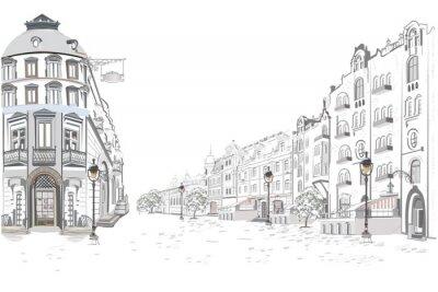 Nálepka Série pohledů na ulice ve starém městě. Ručně kreslené vektorové architektonické pozadí s historickými budovami.