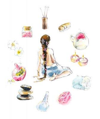 Nálepka Set for SPA salon. Watercolor hand drawn illustration.