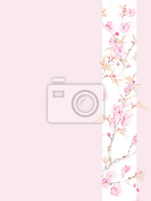 Set of card with flower cherry, leaves. Wedding ornament concept. Floral poster, invite. Decorative greeting card or invitation design background.