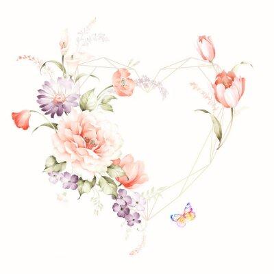 Nálepka Set of card with flower rose, leaves. Wedding ornament concept. Floral poster, invite. Decorative greeting card or invitation design background