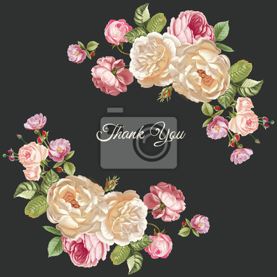Set of card with flower rose, leaves. Wedding ornament concept. Floral poster, invite.  greeting card, invitation design background