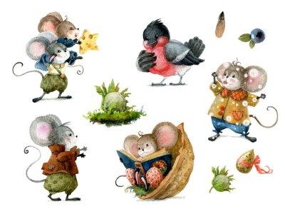 Nálepka Set of cute christmas mice in cartoon style. Watercolor christmas illustration