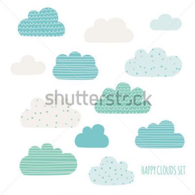 Nálepka Set of cute clouds. Design for kids. Vector illustration