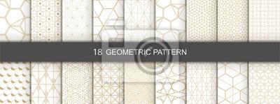 Nálepka Set of Geometric seamless patterns. Abstract geometric  hexagonal  graphic design print 3d cubes pattern. Seamless  geometric cubes pattern.