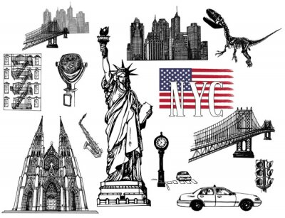 Nálepka Set of hand drawn sketch style New York themed isolated objects. Vector illustration.