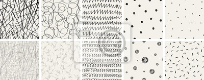 Nálepka Set of seamless abstract hand-drawn patterns. Vector modern creative backgrounds for your design