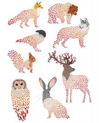 Nálepka Set of stylized animals. Collection of cartoon forest animals. Logos of wild animals. Illustration for children.